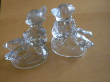 Pair Vintage L. E. Smith Girl Goose Hummel Design Clear Glass Figurines Bookends