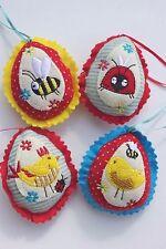 Gisela Graham EASTER tessuto rétro PULCINO insetti uova DECORAZIONE x 4
