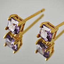 Yellow Gold Filled diamond amethyst Stud Earrings Womens korean earrings