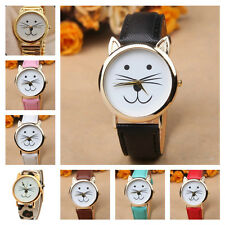 *UK* CUTE CAT FACE WRIST WATCH with GOLD EARS and COLOURED STRAPS! KITTEN TIGER