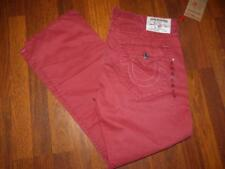 Size 40 NWT TRUE RELIGION Straight Flap Ruby Red 100% Cotton Big T W/ GLD Jeans