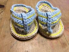 Sandalia 0/3 Meses Zapatos Alpargatas Patucos Bebe Recién Nacido Crudo Y Azul