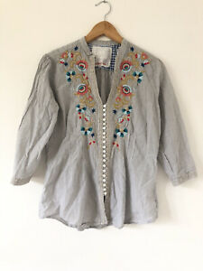 Johnny Was 3J Workshop Pinstripe Blouse Shirt Size XS Floral Buttons Boho V Neck