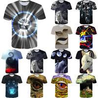 Fashion Men's New Fashion 3D Flood Printed Short-sleeved T-shirt Top Blouse
