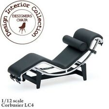 Designer style chaise fauteuil en noir & chrome, maison de poupées miniature, meubles
