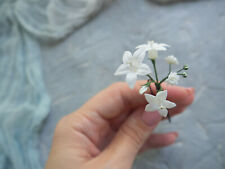 Woodland floral hair pin with campanula flower and white gypsophila