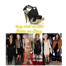 Stella McCartney Fishscale double platform sandals 39 NIB black gold vegan