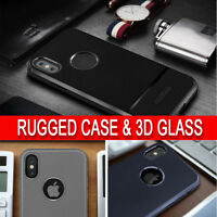New For iPhone X Rugged Shockproof 360 Case Cover & 3D Curved Tempered Glass