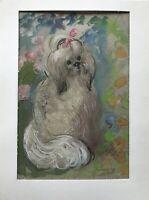 Doreen Middelboe Porträt Hund mit Schleife Pekingese Palasthund Modern