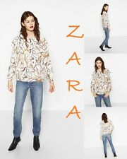 ZARA Double Frill Chain Print Blouse Long Sleeve New (RT$43) Top Size L