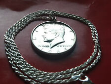 "1964 KENNEDY PROOF GEM SILVER COIN PENDANT on a  24"" ITALY 925 SILVER ROPE CHAIN"