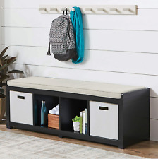 "Entryway Wood Shoe Bench Padded Seat 4 Storage Cubby Black with Cushion 58"" Long"