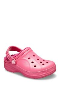 New Crocs Winter Faux Shearling Lined Clog Kids Size 2M Pink