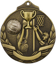 Netball Two Tone 3d 50mm Diameter Medal Inc Neck Ribbon / Engraving