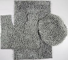 3 Piece Mixed Shiny Chenille Bath Mats Set Made with super soft Microfiber Gray.