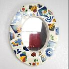 Mexican Art Ceramic Mosaic Oval Hanging Mirror