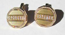 Links With .38 Ct of Diamonds 18K Yellow Gold & Diamond Cuff
