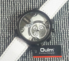 Oulm 3130 Military Army Dual Dial WHITE Leather Sport Wrist Watch WHITE