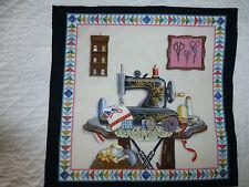 VINTAGE Sewing Machine Fabric Cotton Craft Panel Quilting Scissors
