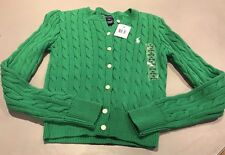 RALPH LAUREN  Green Cable Knit Child's Cardigan.Size M Age 8-10 YRS NWT RRP £75