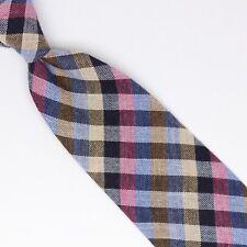 John G Hardy Laine Hommes Cravate Gris Rose Bleu Beige Carreaux Tissage Ample