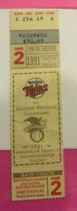 1991 League Championship Game 2 Ticket Minnesota Twins vs. Toronto Blue Jays