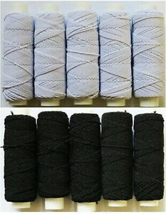 10 x White / Black Shirring Thread Elastic - 20m per reel - 200m total