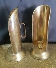 """2 Vtg. Brass Chamber Candle Holders W/ Shield & Handles 9"""""""