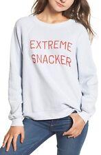 Wildfox Couture Women's Blue Extreme Snacker Fleece Pullover Sweatshirt Szs S, M