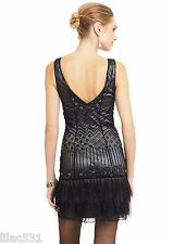 Sz 12 🌸 SUE WONG Nocturne 1920's Feather Flapper Dress Beaded GATSBY Black Gray