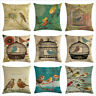 Countryside Decorative Burlap Toss Pillow Cases Bird Cage Square Cushion Cover
