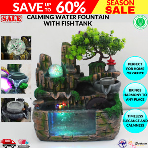 Calming Fountain Water Feature Ornament Fish tank Indoor Outdoor Home Decor Gift