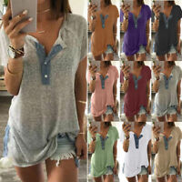 Casual Plus Size Women Loose Button Short Sleeve Tees Casual Tops T-Shirt Blouse
