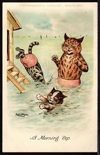 Postcard ~ LOUIS WAIN Cats FAULKNER Series 183B ~ c1900 'A MORNING DIP'