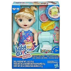 Baby Alive Super Snacks Snackin' Shapes Blonde Doll Feed & Poop New Kids Toy 3+