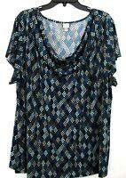 Merona Brand Womens Top PLUS Size 28W 30W Drape Neckline Geometric Polka Dots