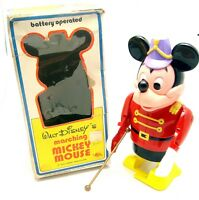 Vintage Illco Mickey Mouse Marching Parade Major Battery Operated Toy In Box