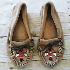 Minnetonka Beaded Moccasins Shoes Deerskin Leather Suede Fringe Slipper Stitched