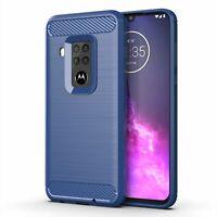 Motorola One Zoom Hülle Case Handy Cover Schutz Tasche Schutzhülle Bumper Blau