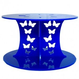 Butterfly Design Round Cake Separator - Blue