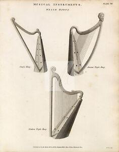 MUSICAL Instruments- Welsh Harps - Ress' Encyclopedia 1800s #G154