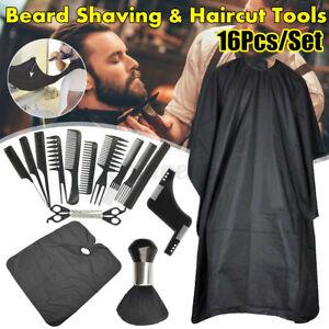16pcs Pro Barber Hair Cutting Kit Set Haircut Hairdressing Cape Scissors Comb