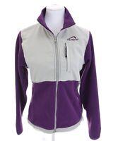 Polar Edge Womens Full Zip Up Fleece Jacket Purple Gray Zippered Pockets Sz M