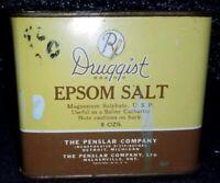 "VINTAGE DRUGGIST BRAND EPSOM SALT TIN WITH LID 4"" BY 4"" BY 2 1/2"""