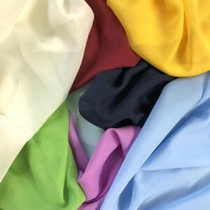 Solid Chiffon Fabric Polyester Dress Sheer 58'' Wide By the Yard All Colors