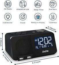 Alarm Clock with Fm Radio Night Light Digital Alarm Clocks, Adjustable Volume