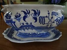SOUP TUREEN BLUE WILLOW WITH UNDER PLATE MISSING COVER BLUE TRANSFER WARE 2 PIEC