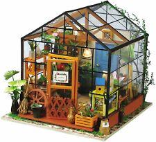 Robotime Puppenhaus Holz Modellbausatz Gewächshaus DIY Mini Haus Holzspielzeug