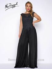NEW MAC DUGGAL 77230F Black Embellished Lace Appliqué Jersey Jumpsuit Gown 16W