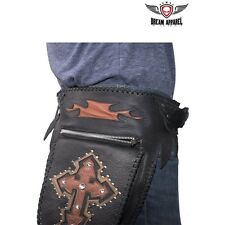 Motorcycle Leather Waist Bag With Leather Cross Bling & Studs #AC1003